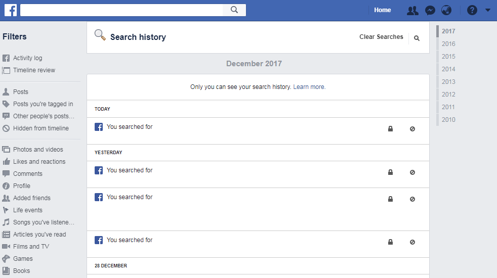 Delete facebook search history like a pro how to guide clear facebook search history ccuart Choice Image