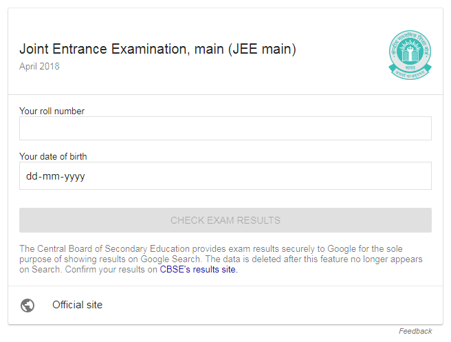Screenshot of JEE Result Panel Which is present on Google Search Result