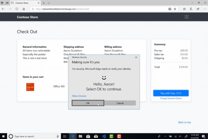 Microsoft Edge Browser Introduces Web Authentication Feature