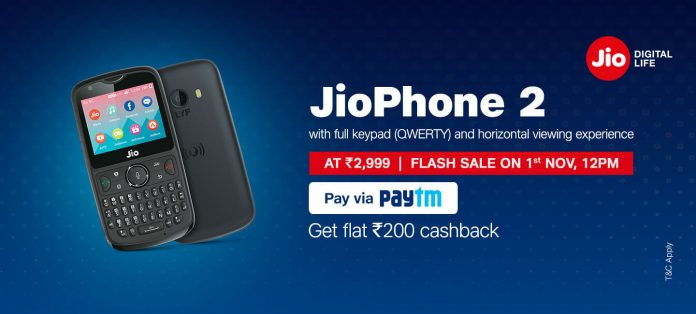 Jio Phone 2 Flash Sale November 1 at 12 PM
