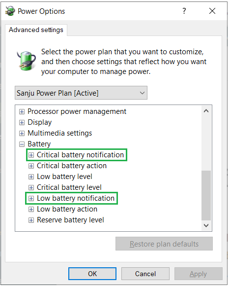Default Battery Notifications Option in Windows 10