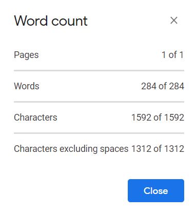 Displaying Word Count in Google Docs