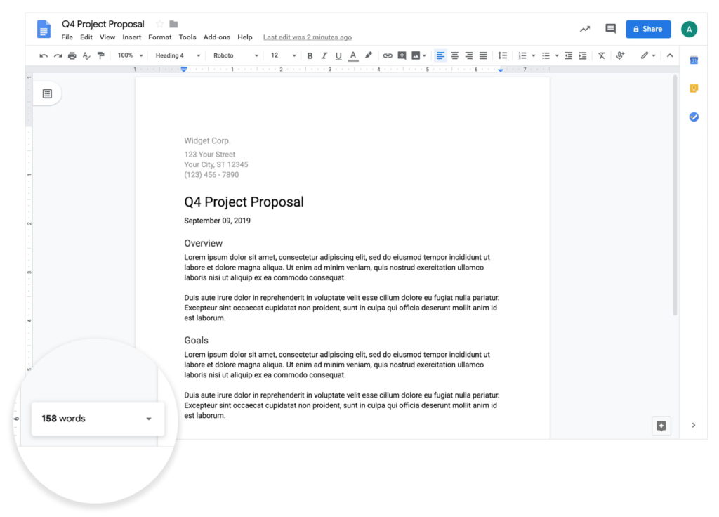 Word Count Displaying at the lower left corner of Google Docs